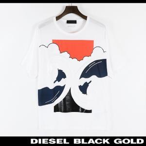 ディーゼルブラックゴールド DIESEL BLACK GOLD Tシャツ カットソー メンズ フロントデザインプリント オーバーサイズ 半袖 TASTER-SEA|tutto-tutto