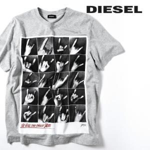 ディーゼル DIESEL 半袖Tシャツ カットソー メンズ フォトプリント クルーネック ウォッシュドコットン T-JOE-QR|tutto-tutto