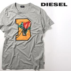 ディーゼル DIESEL 半袖Tシャツ カットソー メンズ フロントプリント クルーネック 杢調 T-JOE-QQ|tutto-tutto