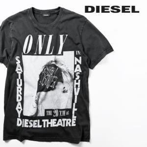 ディーゼル DIESEL 半袖Tシャツ カットソー メンズ フロントプリント クルーネック コットン T-JOE-QE|tutto-tutto