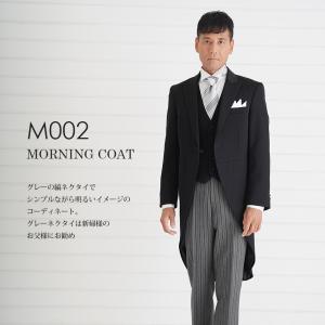 父親モーニング M002グレーネクタイ-黒ベスト レンタル 10点セット 日本製 国産生地 お直し可能 モーニングコート 結婚式 お父様 列席 パーティー|tuxedo
