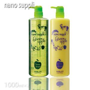 サニープレイス ナノサプリクレンジングシャンプー (ギフトセット箱付き)1000ml&トリートメント1000mlセット  (グリーンアップル)|tuyakami