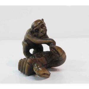 木彫り 根付 〜猿〜  一刀彫 / 素材:柘植