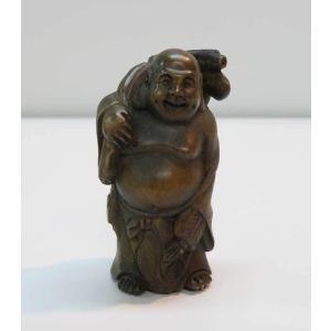 木彫り 根付 〜 座布袋〜  一刀彫 / 素材:柘植