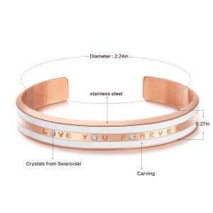 CDE 18K Rose Gold Bracelet Swarovski Crystals Bangle Cuff Love You For|twilight-shop