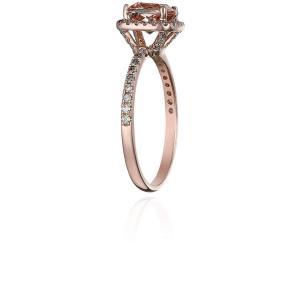10k Rose Gold 1ct Morganite and Diamond Cushion Engagement Ring (1/4ct|twilight-shop