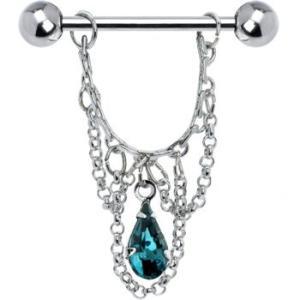 Body Candy Blue Green Teardrop Chain Dangle Nipple Ring Set of 2|twilight-shop