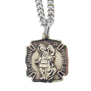 Sterling Silver Saint St Florian Protect Us Firefi...