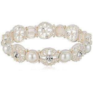 Napier Women's Pearl and Crystal Stretch Bracelet, White Tone|twilight-shop
