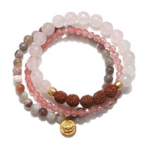 Satya Jewelry Womens Rose Quartz Gold Lotus Stretch Bracelet Set, Pink|twilight-shop