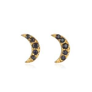 Satya Jewelry Women's Blue Sapphire Gold Moon Stud Earrings, One Size|twilight-shop