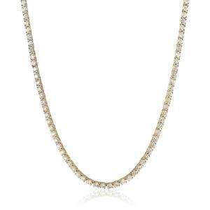IGI Certified 14K Yellow Gold Diamond Tennis Necklace (9.00 cttw, H-I|twilight-shop