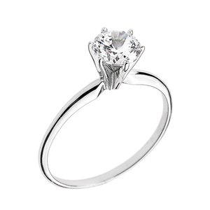10k White Gold Elegant Cubic Zirconia Solitaire Engagement Ring (Size|twilight-shop