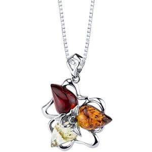 Baltic Amber Star Leaf Pendant Necklace Sterling S...