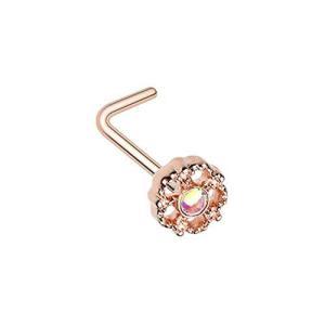 Rose Gold Illuminating Lotus Ornate WildKlass L-Shaped Nose Ring twilight-shop
