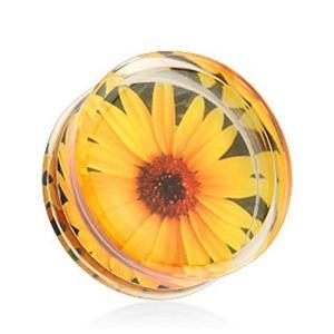 Sunflower Print Encased Clear Acrylic WildKlass Saddle Fit Plug (Sold twilight-shop