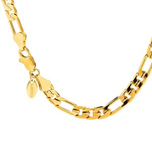 Lifetime jewelry 6mm Figaro Chain Gold Necklace for Men & Women with u|twilight-shop