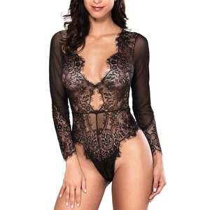 Women Sexy Lingerie Long Sleeve Bodysuit Lace Deep V Bodysuit Lingerie|twilight-shop