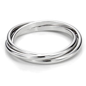 Metal Factory Sz 10 Sterling Silver Triple Interlo...