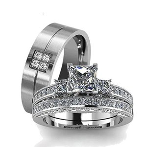 LOVERSRING Couple Ring Bridal Set His Hers White Gold Plated CZ Stainl|twilight-shop
