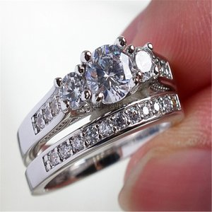 Couple Ring Bridal Set His Hers White Gold Plated CZ Stainless Steel W|twilight-shop