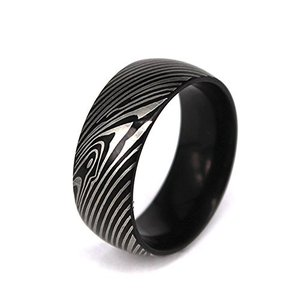 Damascus Steel Plated Men`s Wedding Band Ring Mokume Gane Replica (8)|twilight-shop