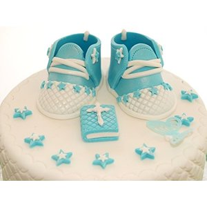 Edible赤ちゃん少年靴セットベビーシャワー洗礼式/ハンドメイドSugarpasteケーキトッパー装飾by IcingCakeTopper