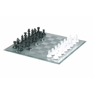 Black and Frosted Glass Chess Set with Mirror Boar...
