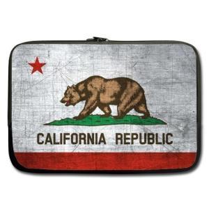 モダンデザインカリフォルニア州旗テーマソフト防水ネオプレンキャリーケーススリーブバッグfor Mac...