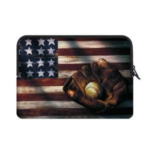モダンデザイン野球on American Flagテーマソフト防水ネオプレン携帯ケーススリーブバッグ...