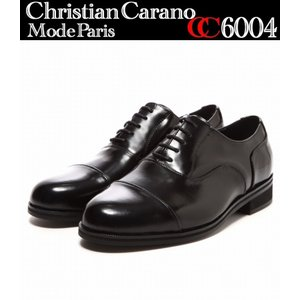 【CHRISTIAN CARANO 6004】クリスチャンカラノ 衝撃吸収紐ストレートチップビジネスシューズ 超幅広 撥水本革紳士靴 結婚式 冠婚葬祭 靴 ブラック