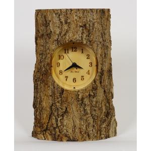 木製 電波時計 銀杏(いちょう)丸太ハーフ  置時計 [Mサイズ] No.1293|twinheartspro
