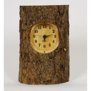 木製 電波時計 銀杏(いちょう)丸太ハーフ  置時計 [Sサイズ] No.1299|twinheartspro