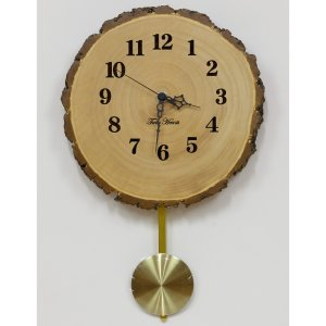 木製 電波時計 銀杏(いちょう)年輪 振子 [22cmサイズ]  No.798