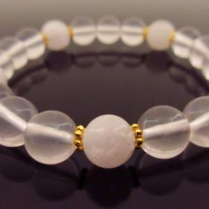希少天然石パワーストーン ブレスレッド 恋愛や母性愛、結婚の石として女性の間で大人気 商品名 「モルガナイト&ローズクォーツ(クリアー)」|twinkle-box