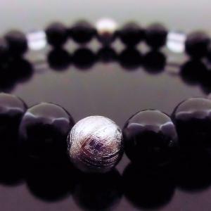 希少天然石パワーストーン ブレスレッド 宇宙パワーと地球のパワーを秘めた石として大変人気です! 商品名 「ギベオン隕石&モリオン」|twinkle-box
