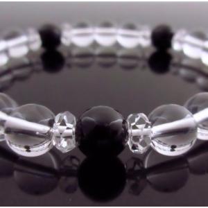 希少天然石パワーストーン ブレスレッド 人間関係・魔除け・お守りの石として大人気で入手困難です!商品名 「モリオン(黒水晶)&水晶」|twinkle-box