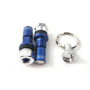 NCY製アルミ削り出しチューブレスロックナットバルブ ストレート ブルー 盗難防止にお薦め|twintrade