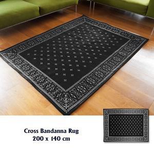 ラグ ラグマット おしゃれ 洗える 床暖房対応 クロス バンダナラグ ブラック L 200×140cm|tycoon