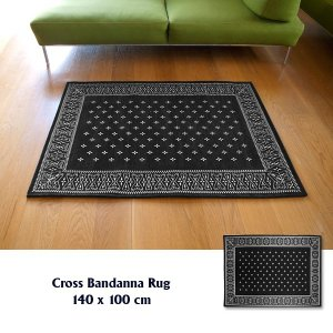ラグ ラグマット おしゃれ 洗える 床暖房対応 クロス バンダナラグ ブラック M 140×100cm|tycoon
