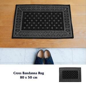 玄関マット 室内 玄関ラグ クロス バンダナラグ ブラック S 80×50cm|tycoon