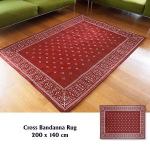 ラグ ラグマット おしゃれ 洗える 床暖房対応 クロス バンダナラグ バーガンディー L 200×140cm|tycoon