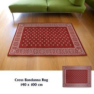 ラグ ラグマット おしゃれ 洗える 床暖房対応 クロス バンダナラグ バーガンディー M 140×100cm|tycoon