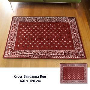 ラグ ラグマット おしゃれ 洗える 床暖房対応 クロス バンダナラグ バーガンディー ML 160×120cm|tycoon
