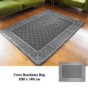 ラグ ラグマット おしゃれ 洗える 床暖房対応 クロス バンダナラグ グレー L 200×140cm|tycoon
