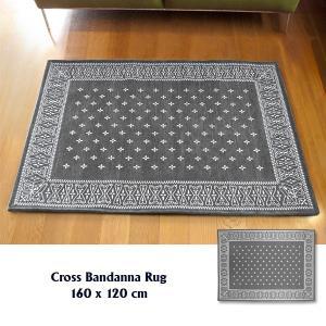 ラグ ラグマット おしゃれ 洗える 床暖房対応 クロス バンダナラグ グレー ML 160×120cm|tycoon