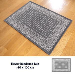 ラグ ラグマット おしゃれ 洗える 床暖房対応 フワラーバンダナ ラグ グレー M 140×100cm tycoon