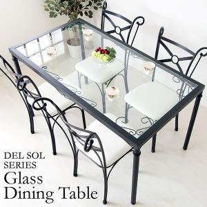 ダイニングテーブル ガラス テーブル リビングテーブル アンティーク アイアン|tycoon