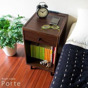 ナイトテーブル 北欧 コンセント付 アンティーク サイドテーブル 木製 電話台 ルーター収納 おしゃれ FAX台|tycoon