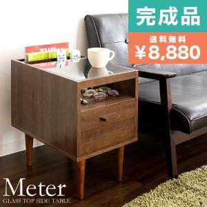 木製サイドテーブル コーヒーテーブル ガラス 収納付き ベッド ソファ おしゃれ|tycoon